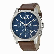Armani Exchange Chronograph Blue Dial Brown Leather Mens Watch AX2501