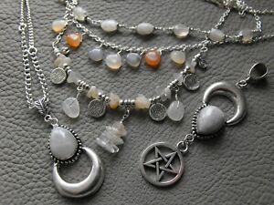 Various MOONSTONE gemstone moon necklace earrings pendant