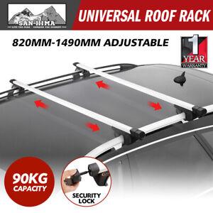Universal Car Top Roof Rack Cross Bars Aluminium Telescopic Adjustable Silver