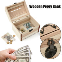 Wooden Piggy Bank Safe Money Box Savings With Lock Wood Carving Handmade Gift RO