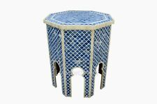 Indian Luxury Bone Inlay Mughal Pattern Design Side Table Blue Color