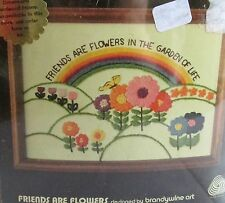 """Stitchery Kit Crewel Embroidery Dimensions FRIENDS ARE FLOWERS 5"""" x 7"""" Vtg 80s"""