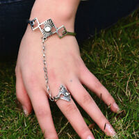 Womens Silver Slave Chain Finger Ring Armband Handgeschirr Armband Schmuck