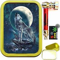WOLF NIGHT 2oz GOLD TOBACCO TIN WITH METAL SMOKING PIPE & SCREENS