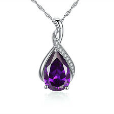 Sterling Silver Simulated Amethyst Birthstone Pendant Necklace Jewelry Gifts F