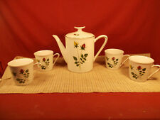 Winterling Bavaria China Yellow & Red Rose Bud w/ Gold Trim Design Tea Set