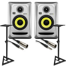 (2) KRK RP4G3 ROKIT 4 G3 Active Studio Monitor Speakers Silver + Stands + Cables