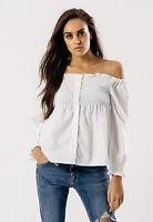 Womens White Long Sleeve Shirred Bardot Summer Tops Sizes 8 10 12 14