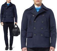 $2,595 RUNWAY Burberry Prorsum 38 48 Navy Cashmere Men Pea Coat Jacket ITALY B