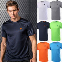 Men Gym Plain Short Sleeve Quick Dry T-shirts Training Workout Tops Tee Athletic