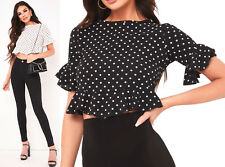 New Polka Dot Frill Top Womens Summer Holiday Short Sleeve Spot Crop Top Cheap