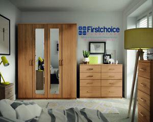 Ready Assembled Medina Oak Wardrobe Drawers Complete Bedroom Furniture Set