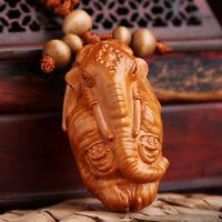 Elephant God Ganesha Statue Rosewood Wood 3D Carved Sculpture Pendant Key Chain