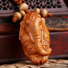 Elephant God Ganesha Statue Rosewood Wood 3D Carved Sculpture Pendant Key Chain
