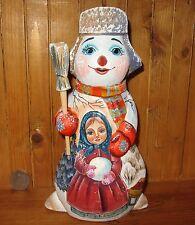 Genuino Ruso PINTADO A MANO Figura Muñeco de nieve & Lindo Invierno Girl Navidad