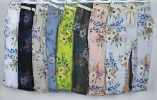 NEW LADIES ITALIAN FLORAL PRINT COMFY CASUAL POCKET LINEN TROUSERS PANTS