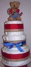Burlap Brown Bear BABY SHOWER Diaper Cak Party Favor Centerpiece Twin Boy Girl