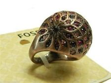 Fossil Fuchsia Crystal Ball Ring Size 7 Bronze Tone New! NWT