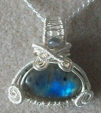 Labradorite Gemstone Cabochon Wire Wrapped  Pendant Necklace