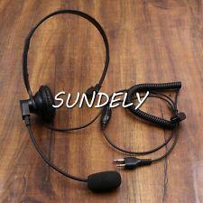 For Icom Radio Over Head Headset/Earpiece  Walkie Talkie Boom Mic VOX/PTT 2 Pin