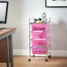 08a5abf6a9d Pink Plastic Storage Trolley On Wheels 4 Drawers Salon Hairdressers Makeup  Large