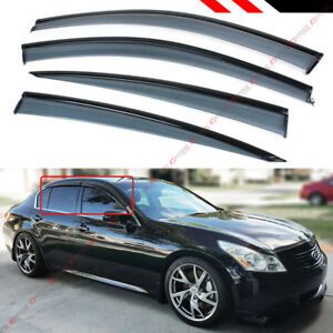 FOR 2007-15 INFINITI G35 G37 SEDAN CLIP-ON TYPE SMOKE WINDOW VISOR W/ BLACK TRIM
