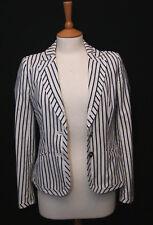 Karen Millen women's white blue striped cotton blend blazer jacket size uk 10
