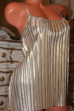 (Ref 16) H&M Shiny Gold Elasticated Pleated Ladies Top size S