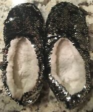 REVERSIBLE Black/silver SEQUIN PLUSH-LINED LADIES Slippers Small/ MEDIUM