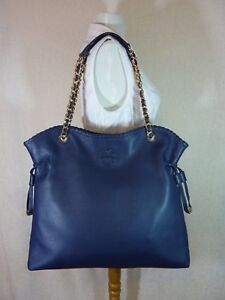 NWT Tory Burch Hudson Bay/Navy Pebbled Leather Marion NS Slouchy Tote $595