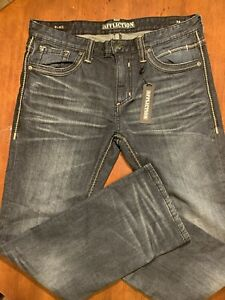 NEW AFFLICTION JEANS $135 MENS BLAKE RISING RELAXED STRAIGHT IN CRITTER SZ 36//34