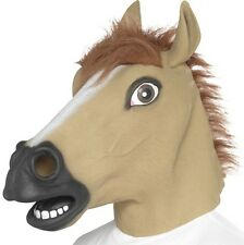 Deluxe Horse Fancy Dress Mask Full Head Latex Pony Mask Brown New by Smiffys