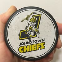 Vintage Johnstown Chiefs Two-Sided Ice Hockey Logo Puck ECHL West Virginia