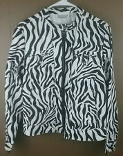 Womens Size M Zebra print jacket lightweight black white
