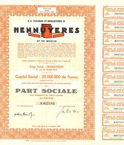 Hennuyeres S. A. Tuileries et Briqueteries d' 1944 Belgium bond certificate