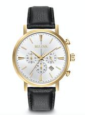 Bulova Men's Quartz Stainless Steel and Leather Dress Watch Model 97B155