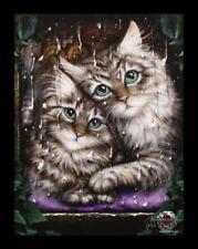 Pequeño Lienzo de pared con gatos - LONGING - LINDA M. Jones FANTASY CUADRO