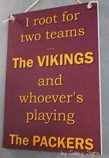 Minnesota Vikings versus Green Bay Packers Handmade Football Bar Pub Sign