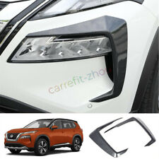 For 2021 2022 Nissan Rogue Carbon Fiber Front Headlight Lamp Eyebrow Cover Trim