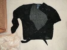 LADIES PETITE/SMALL-JONES NEW YORK SIGNATURE - BLACK SEQUINED WRAP SHIRT - USED