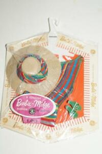 Vintage Barbie Pak ** Knit Striped Accessories - Straw hat, purse & shoes * NRFP