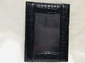 """New Black Leather Crocodile Pattern 4""""x6"""" Picture Frame"""