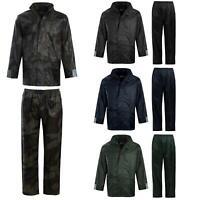 Mens Waterproof Hooded Mac Trench Cagoule Kagool Kag Jacket Trouser