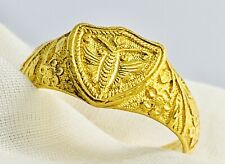 Chinese 24K Gold Moth Floral Size 7 Ring 7.52 Grams