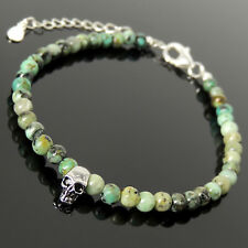 Skull Protection Clasp Bracelet 4mm African Green Turquoise Sterling Silver 1781