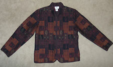 Womens Coldwater Creek Small S Jacket Fall Colors Patchwork Long Sleeve Zip-Up