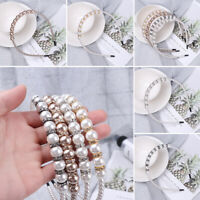 Elegant Crystal Hair Bows Flower Crown Headbands Pearl Diamond Beading Hairbands