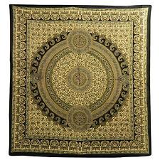 Couverture indienne Tenture Paisley Vert Noir Beige 230x210cm Décoration