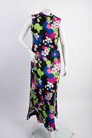 Vintage 70s Womens Maxi Dress Sz 12 Floral Retro Keyhole Hippie Long Hawaiian