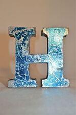 Fantastico Retrò VINTAGE STYLE 3D BLU METALLO shop sign lettera H Pubblicità font